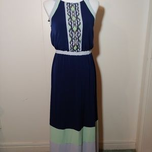 Style & Co long blue green dress Size small